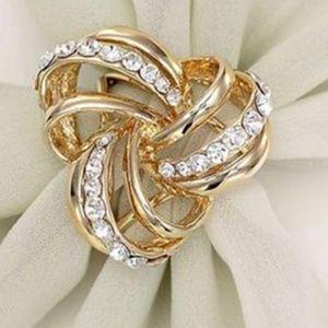NWOT Gold Three Ring Silk Scarf Buckle